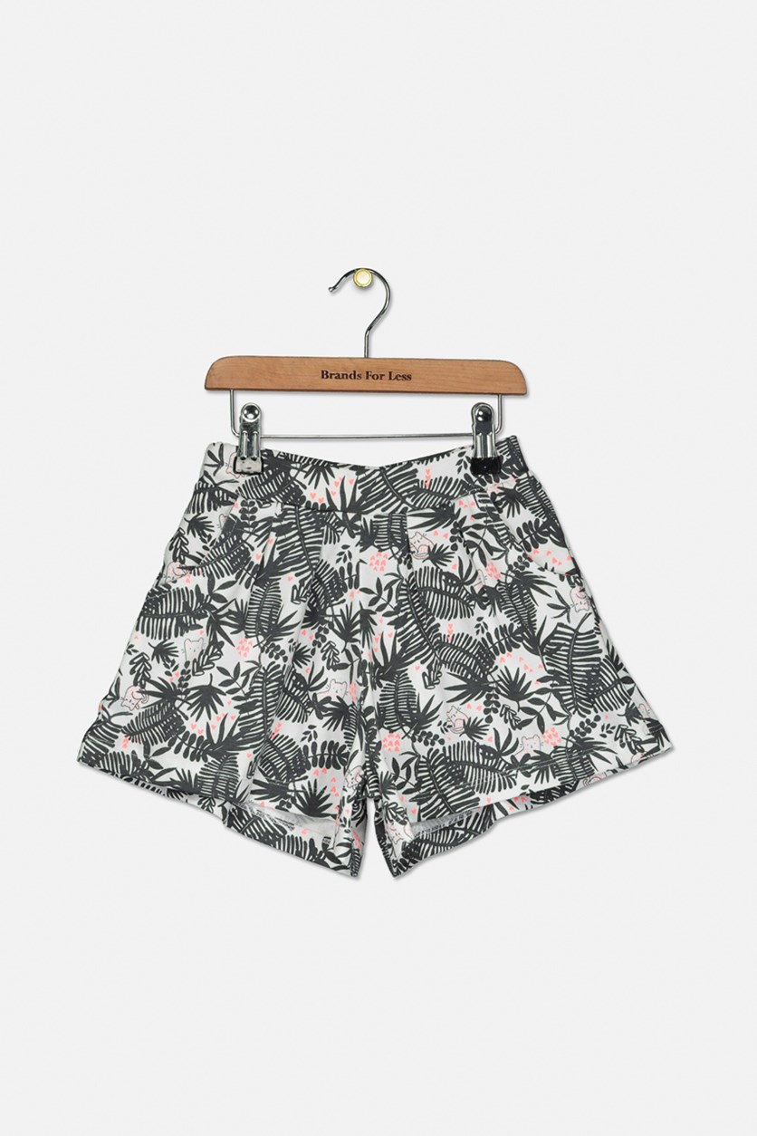 Girl's All Over Print Short, White/Grey/Pink