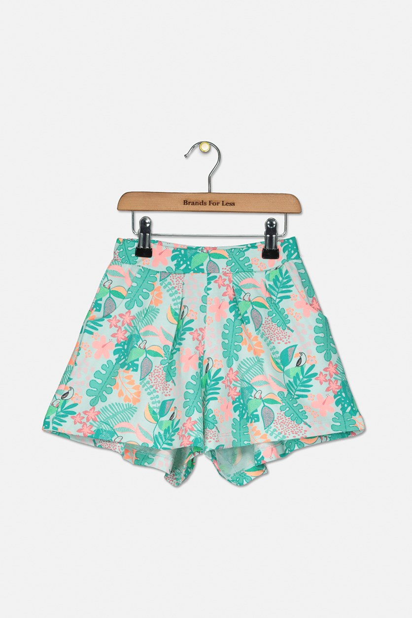 Toddler Girls 2 Side Pocket Short, Green