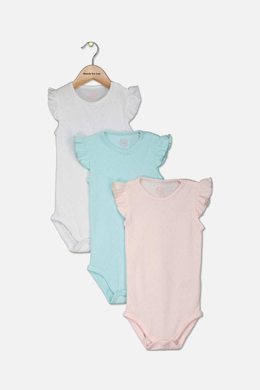 Toddler's Girls Set Of 3 Bodysuits, White/Pink/Torquoise
