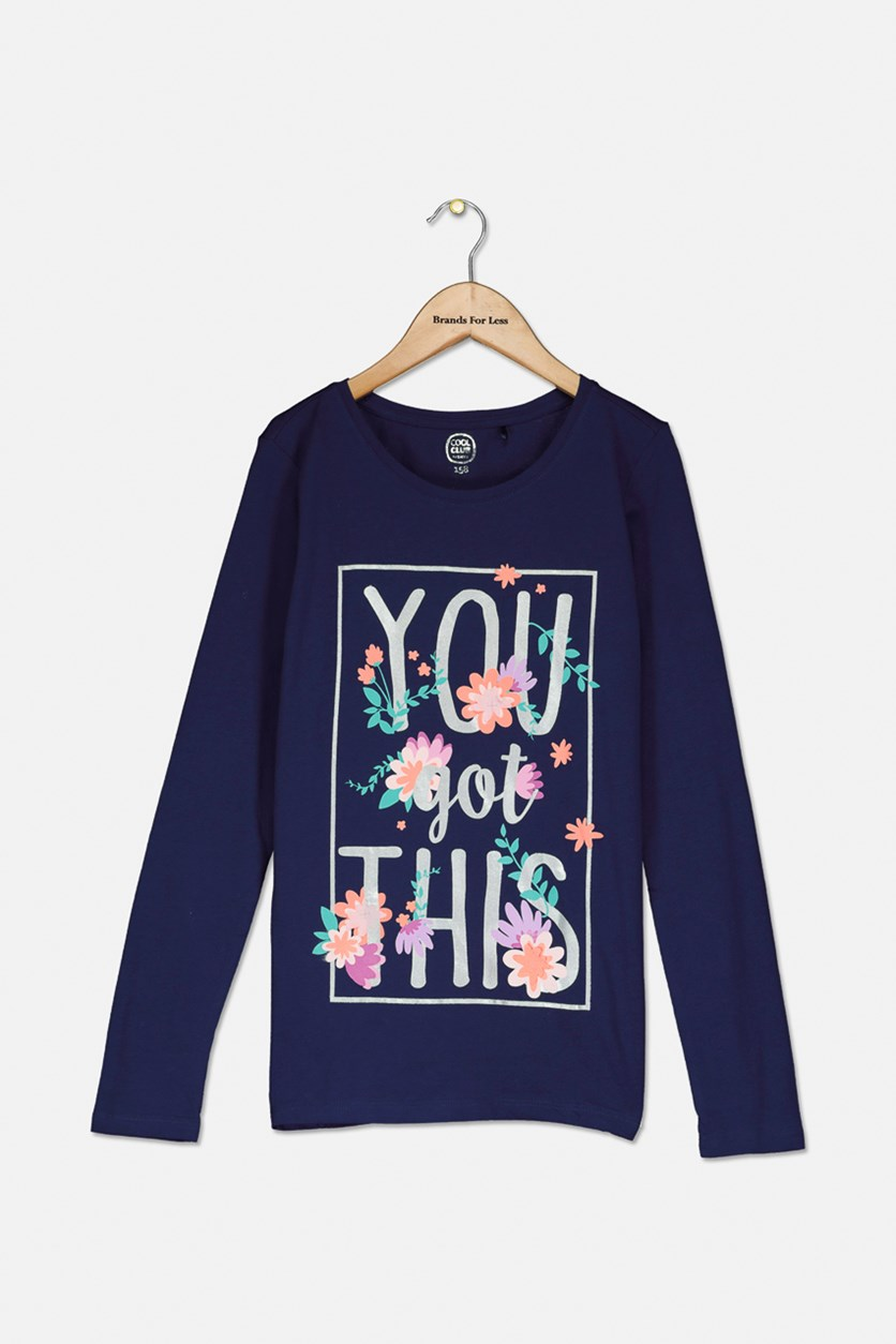 Kids Girl's Graphic Shirt, Navy Blue