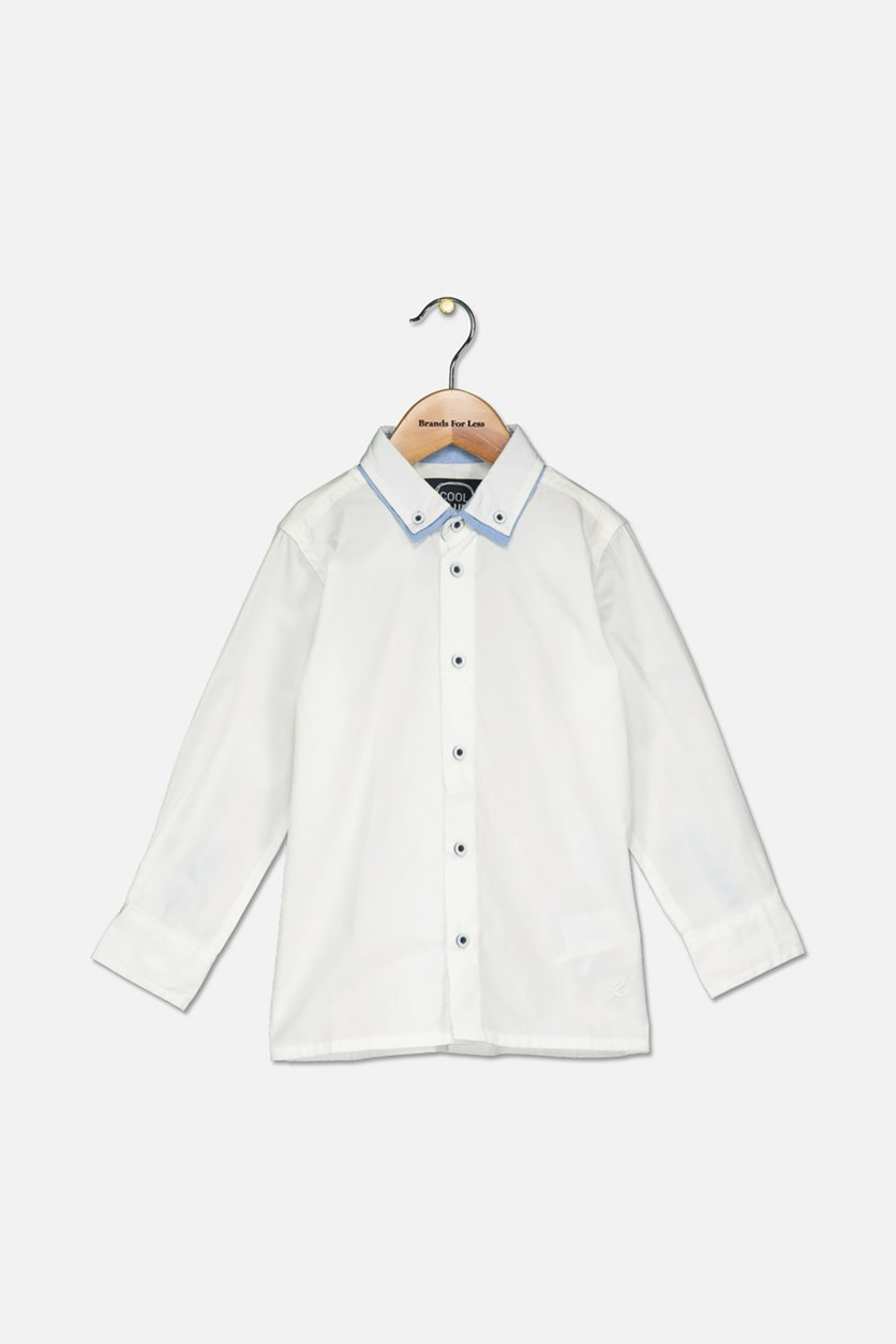 Toddler Boys Plain Shirt, White