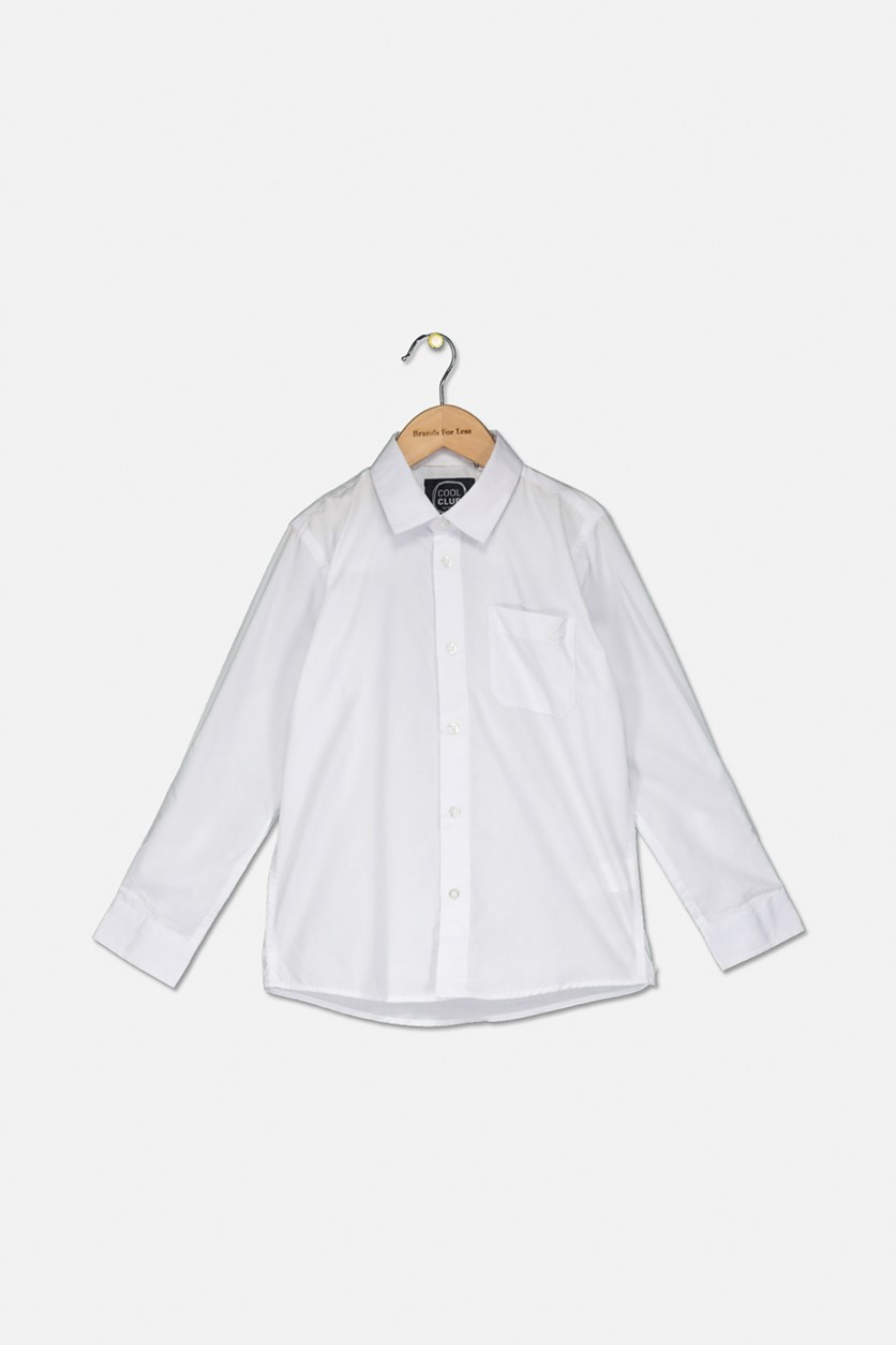 Kid's Boy's Long Sleeve Shirt, White