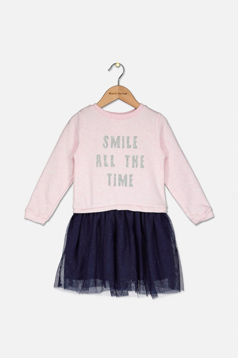 Girl's Long Sleeve Dress, Pink/Navy