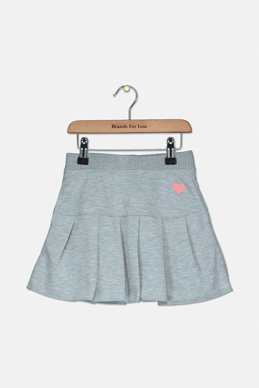 Little Girls Pleated Skirt, Heather Gray