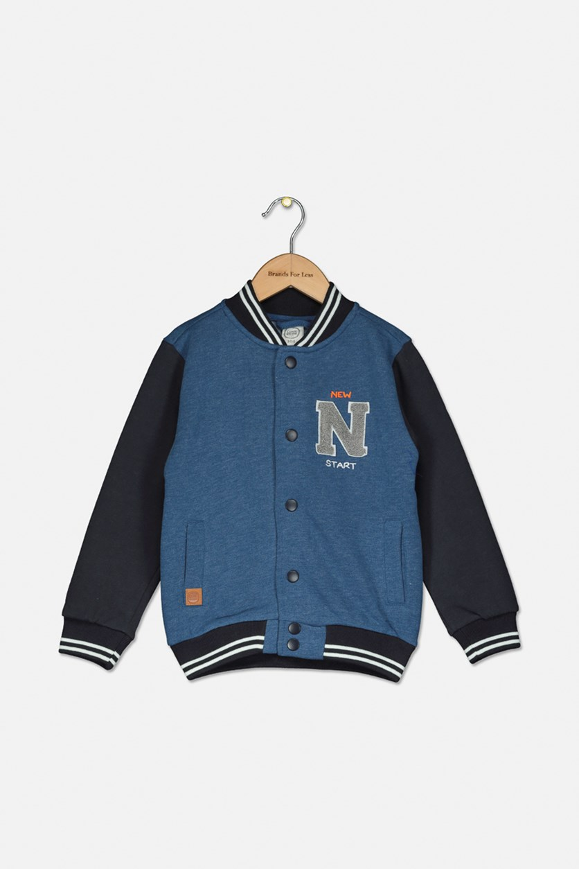 Toddlers Boys Embroidered Jacket, Blue/Charcoal