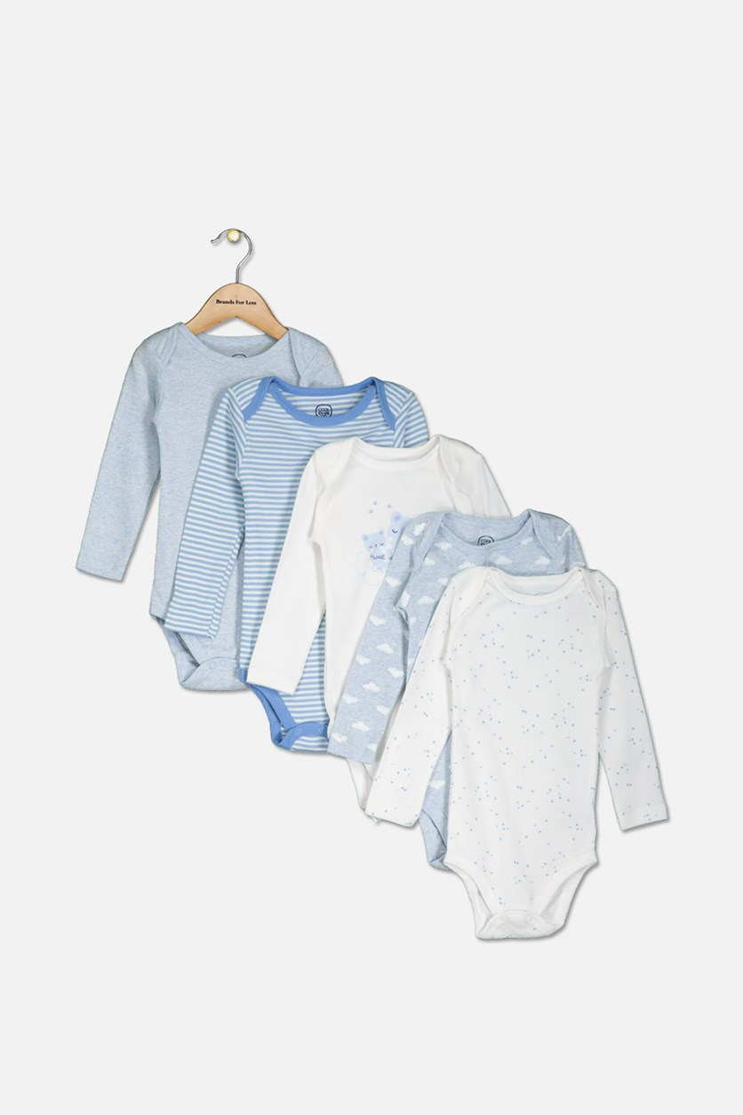 Little Boys Printed 5 Pairs Of Bodysuit, Blue/White Combo
