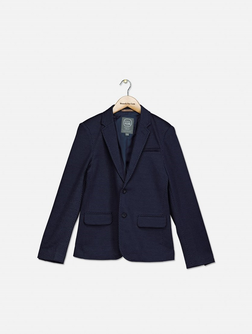 Big Boy's All Over Print Blazer, Navy Blue