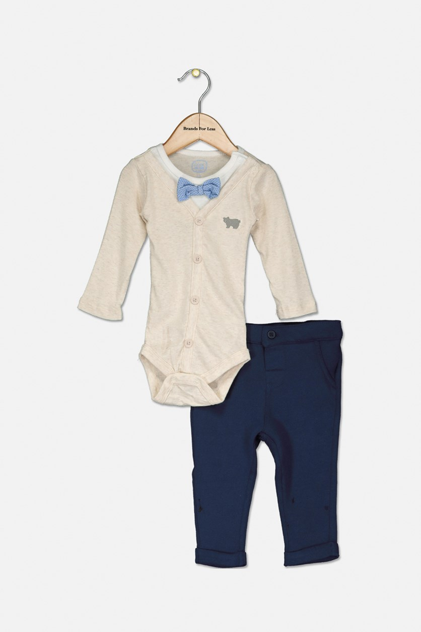 Baby Boy's Bodysuit & Pants Set, Beige/Navy