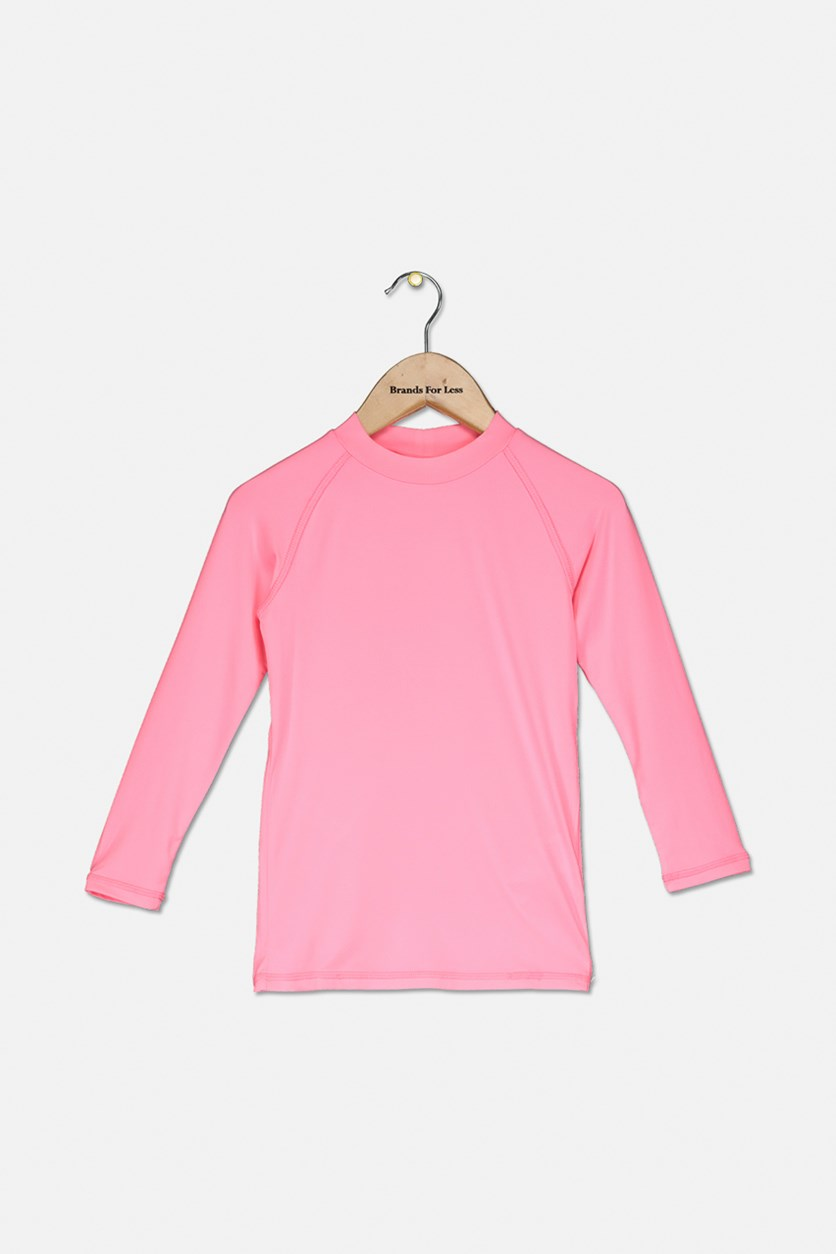 Kids Girls Thermal Top, Neon Pink