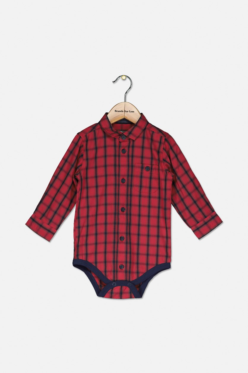 Baby Boys' Check Bodysuit Polo, Red