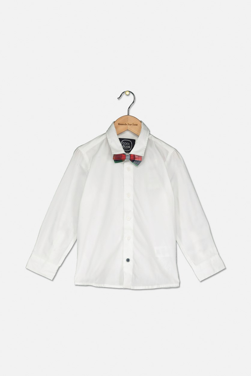 Little Boys Long Sleeve With Neck Tie Shirt, White
