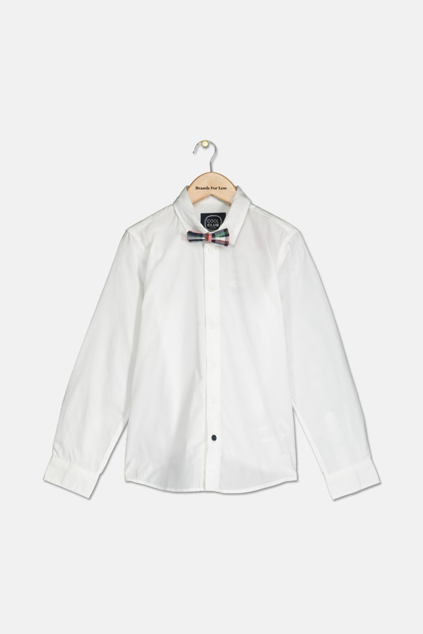 Kids Boys Plain Bow Tie Shirt, White