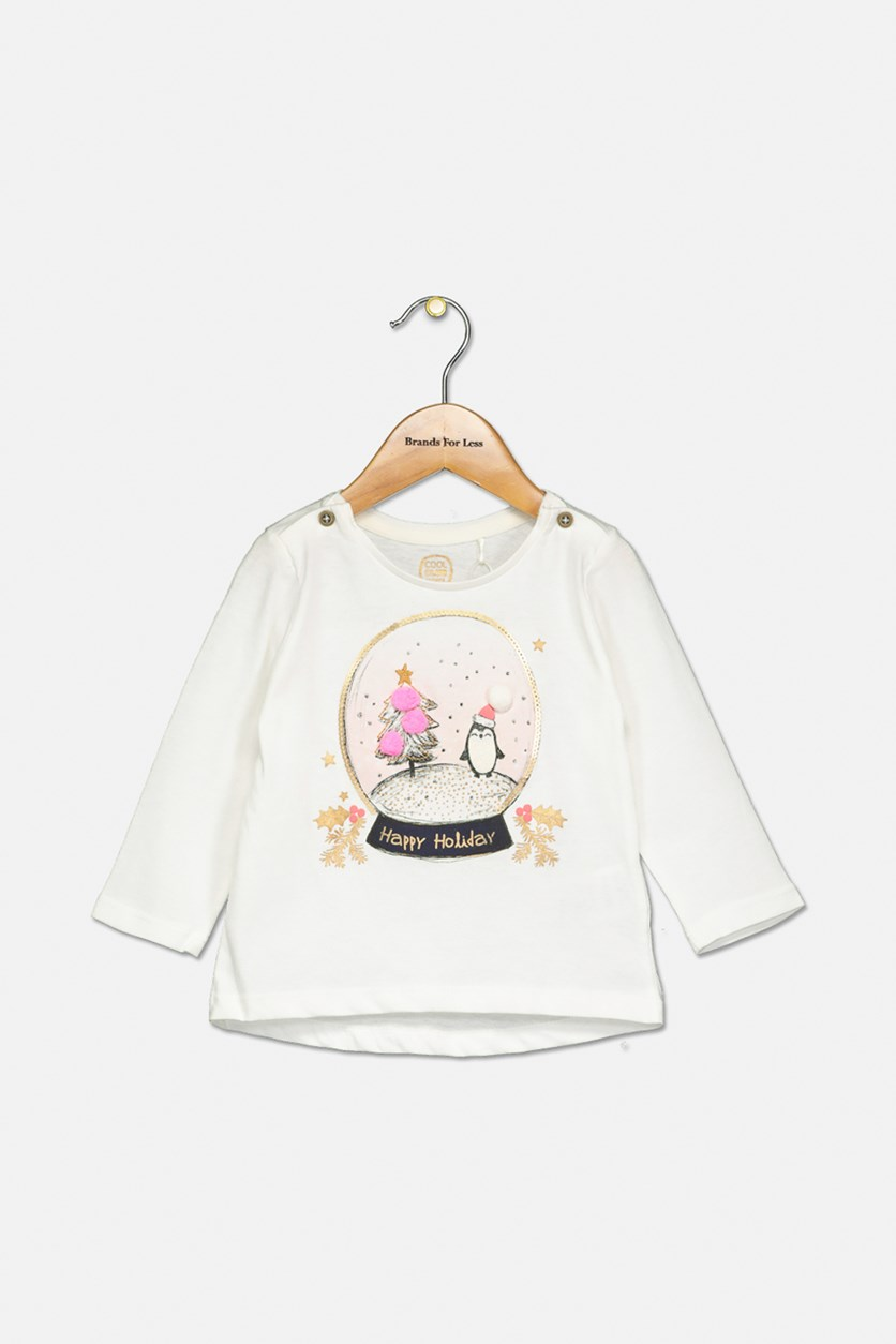 Toddler Girl's Happy Holiday Graphic Top, White