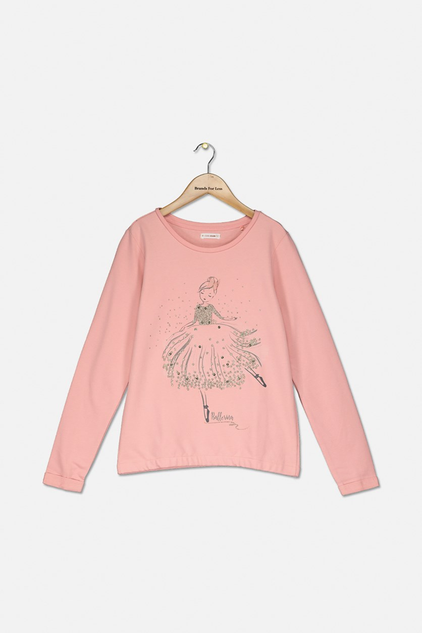 Kids Girls Graphic Sweater, Pink
