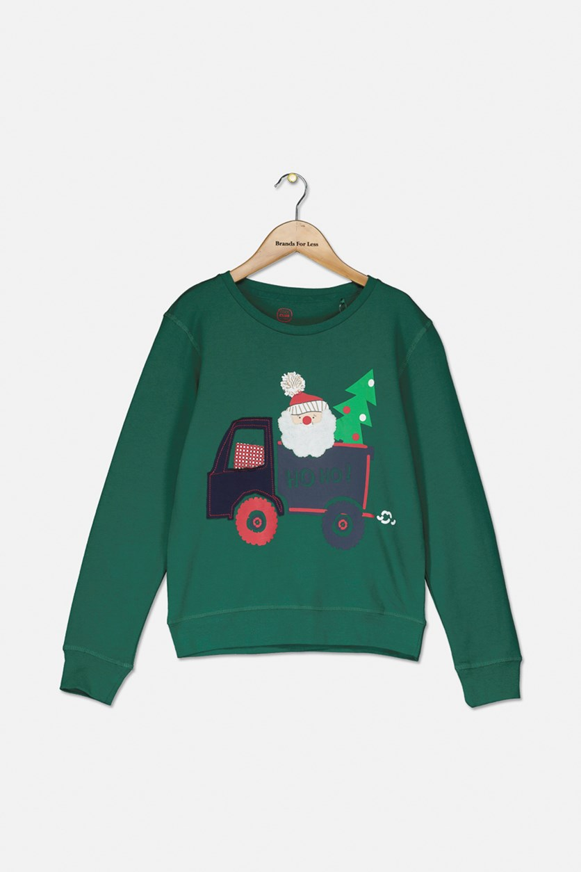 Kids Boys Graphic Sweater, Green