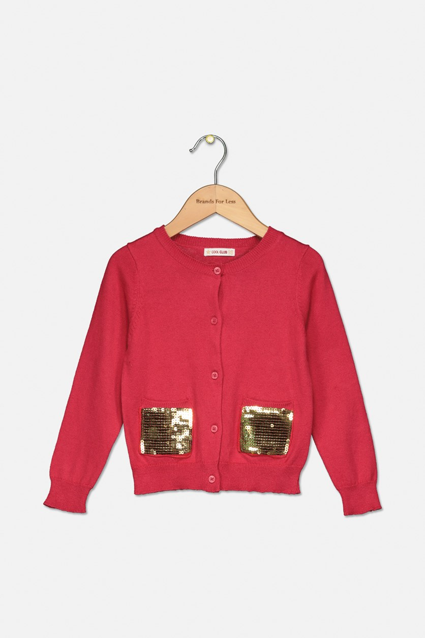 Little Girl's Sequins Two Front Pocket Sweater, Fuchsia