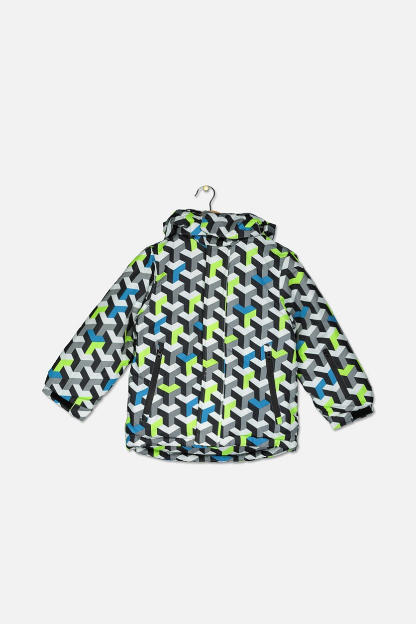 Kids Boys All Over Print Hoodie Jacket, Grey/White Combo