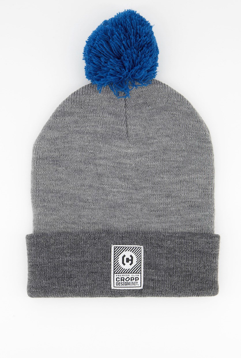 Men's Textured Beanie, Grey/Blue