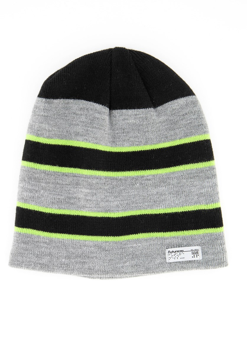 Men's Stripe Beanie, Black/Grey/Green