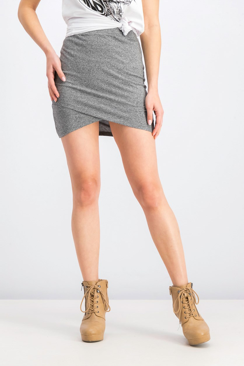 Women's Mini Skirt, Grey Heather