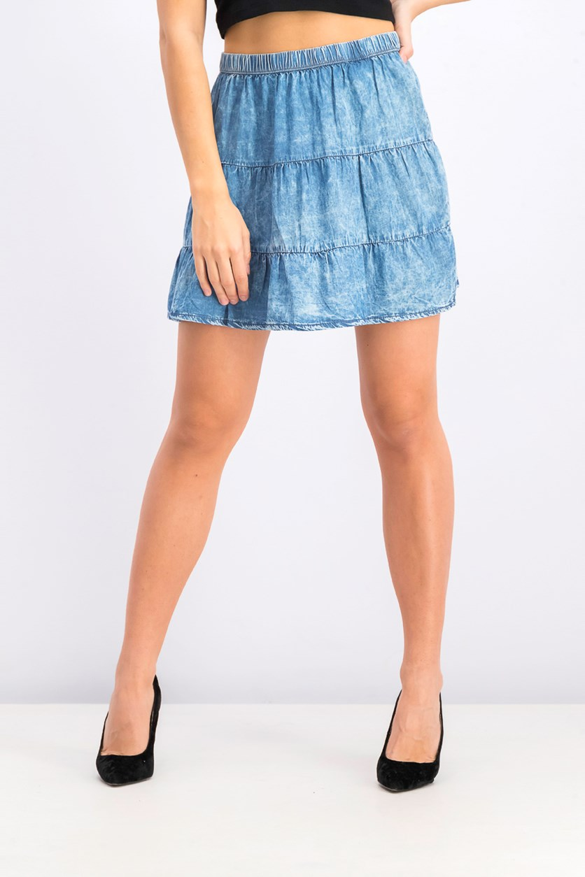 Women's A-line Washed Skirt, Blue