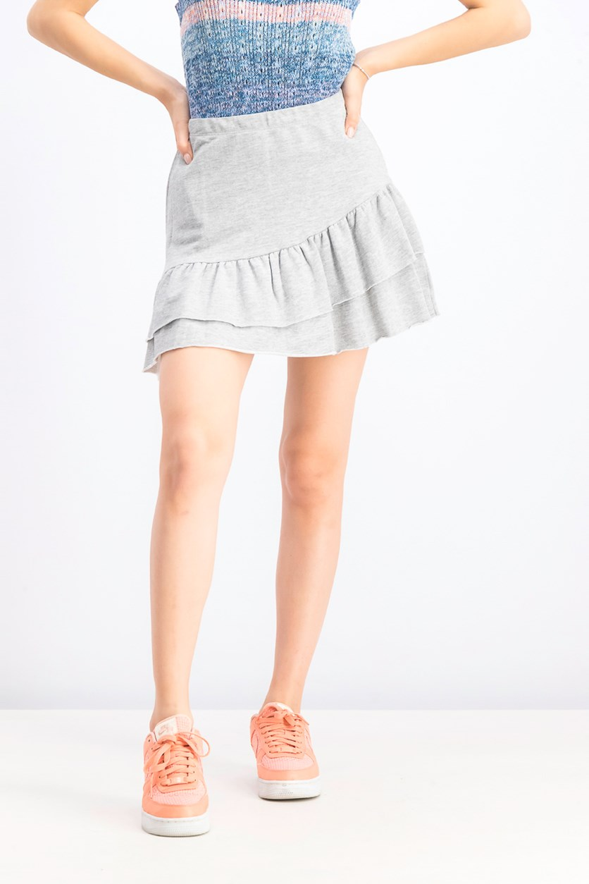 Women's Plain Ruffle Skirt, Grey