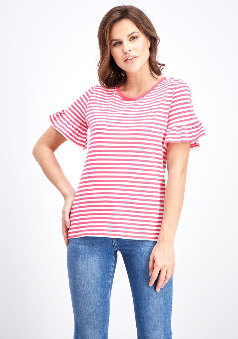 Women's Stripe Blouse, Pink/White