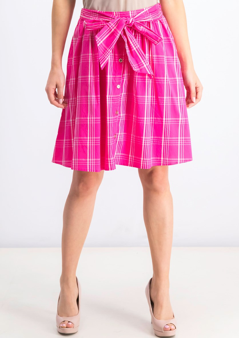 Women's Plaid Woven Skirt, Pink/White