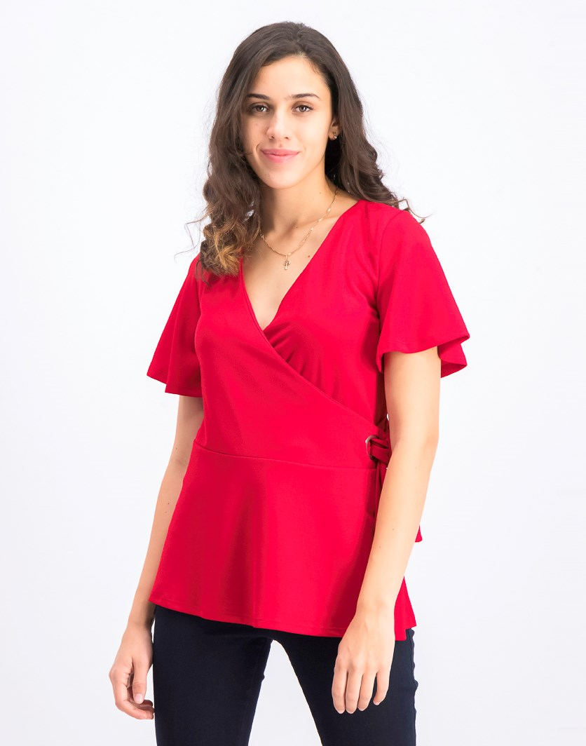 Women's Fold Over Front Blouse, Red