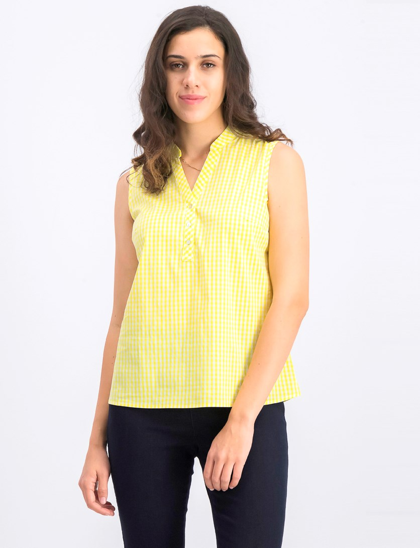 Wome's Gingham Print Top, Yellow/White