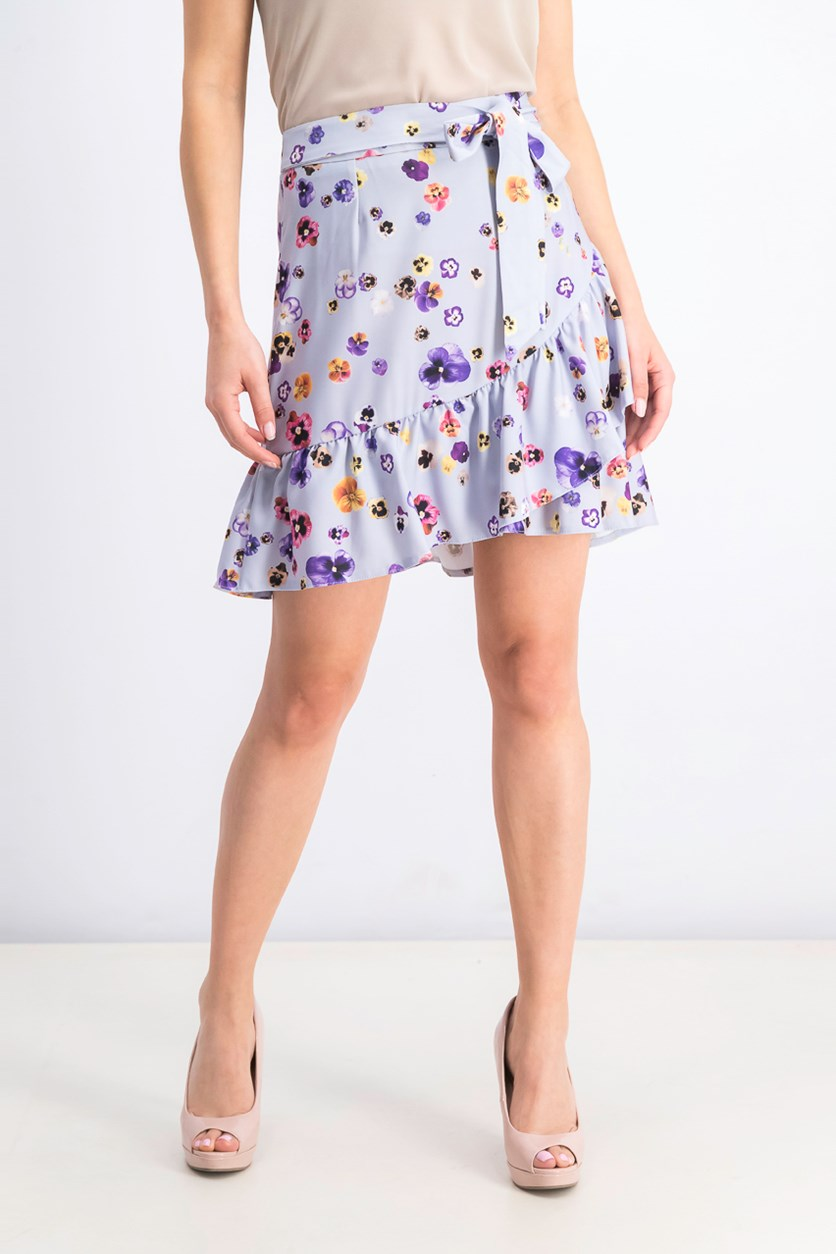 Women's Floral Print Woven Skirt, Lilac Combo