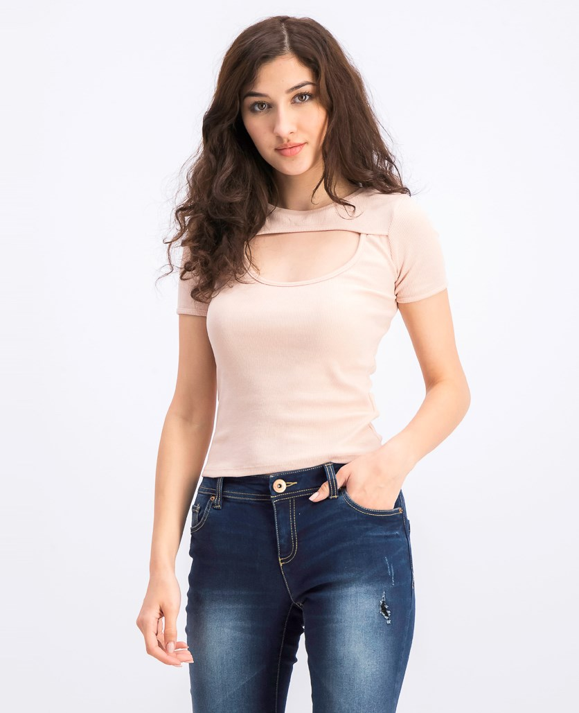 Women's Cut Out Front Top, Blush