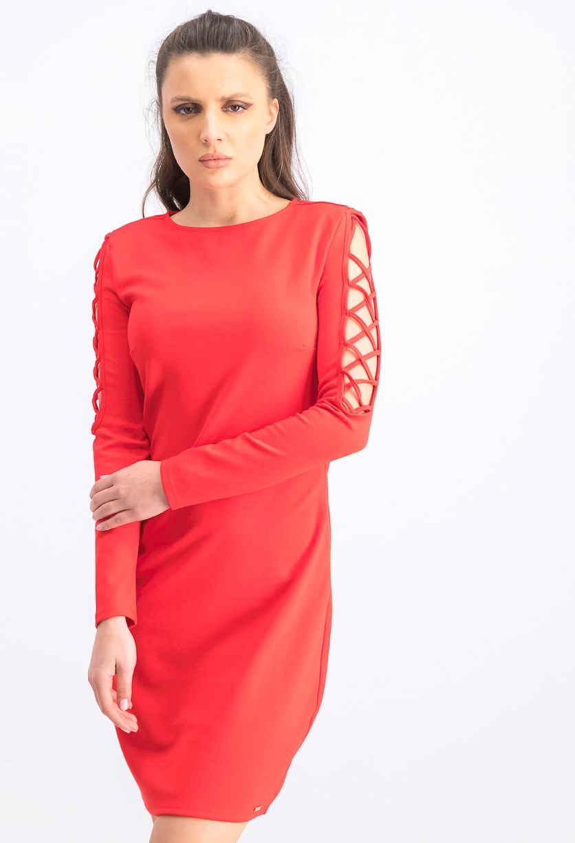 Women's Cut Out Sleeves Dress, Red