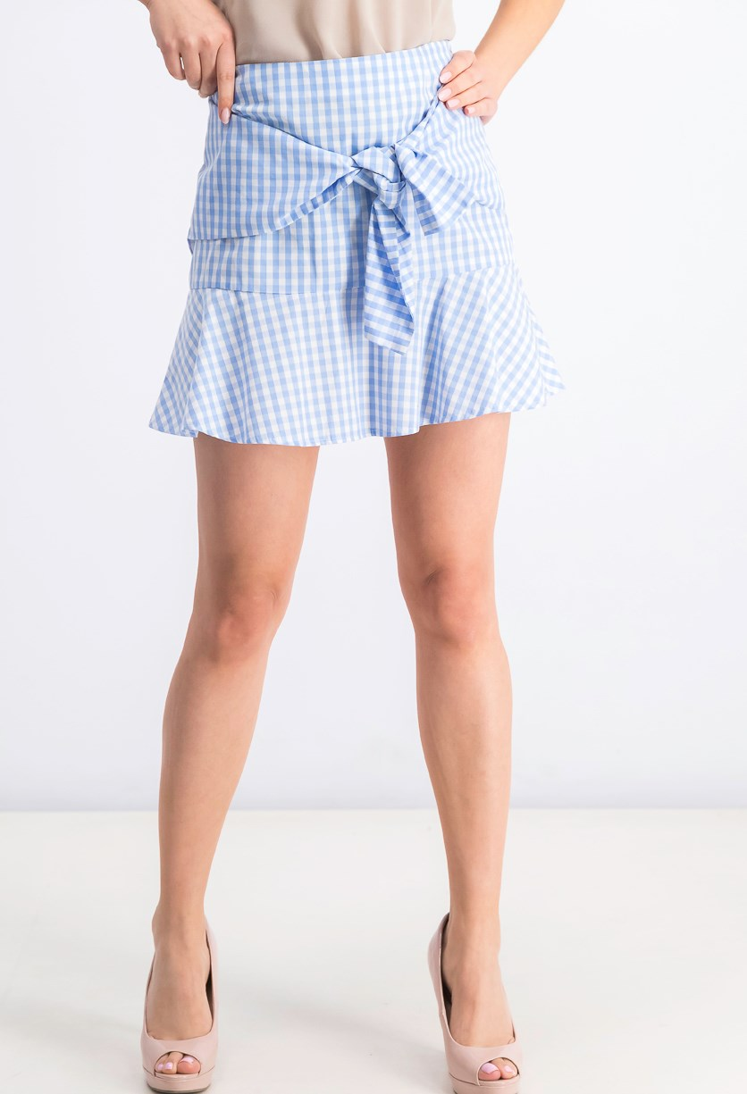 Women's Plaid Skirt, Blue/White