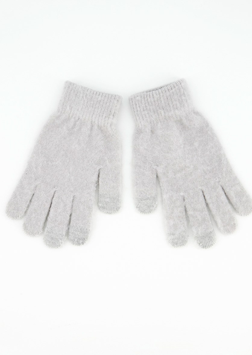Womens Textured Gloves, Grey