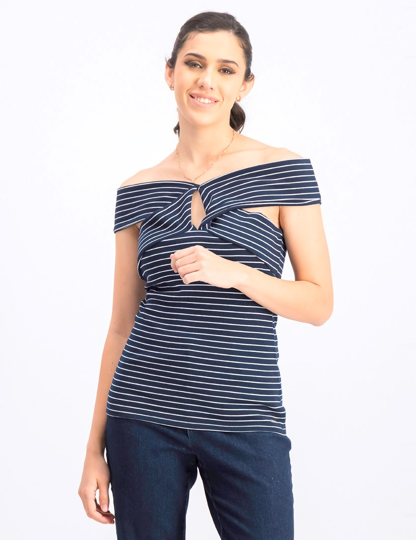 Women's Open Shoulder Top, Navy/White