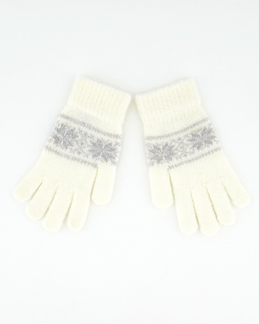 Womens Textured  W/ Metallic Silver Gloves, Off White/Grey