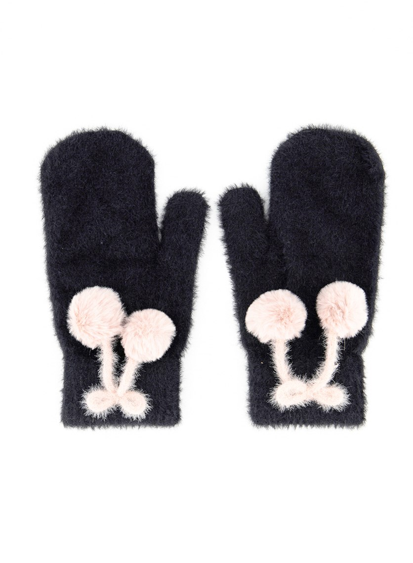 Women's Mitten Gloves, Black/Blush