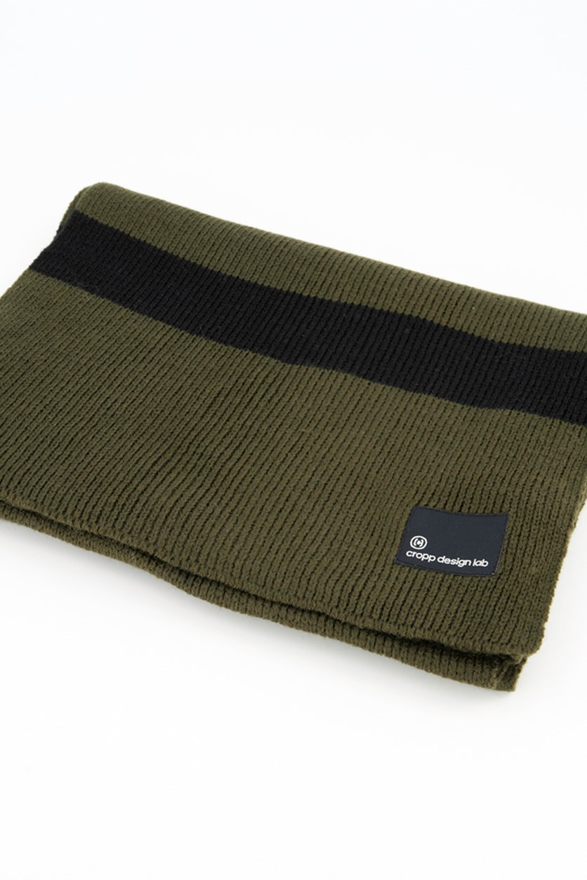 Mens Textured Scarf, Olive/Black