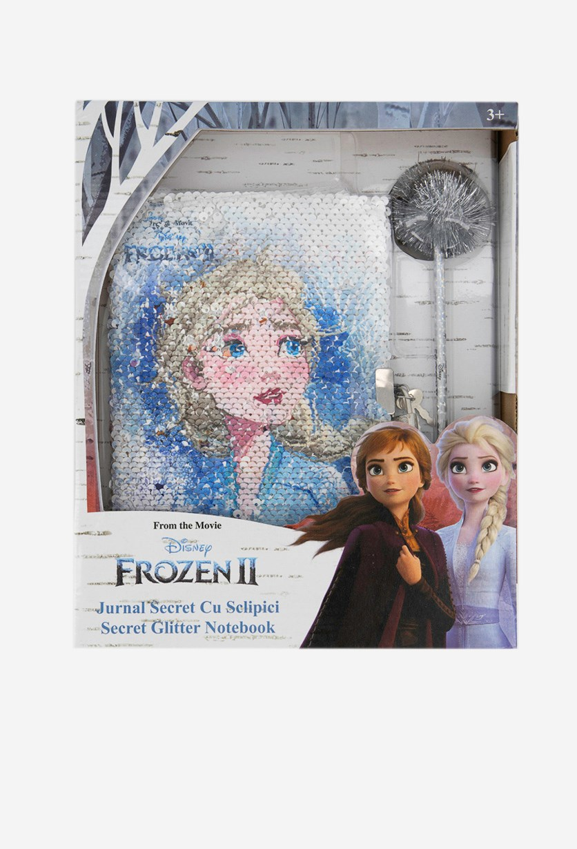 Frozen 2 Secret Glitter Notebook, White/Blue Combo