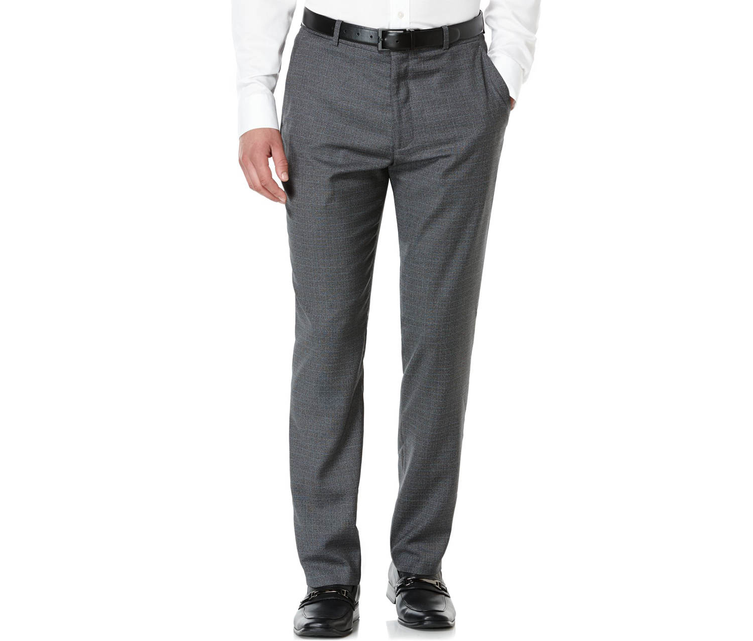 Men's Slim-Fit Subtle-Plaid Flat-Front Pants, Charcoal