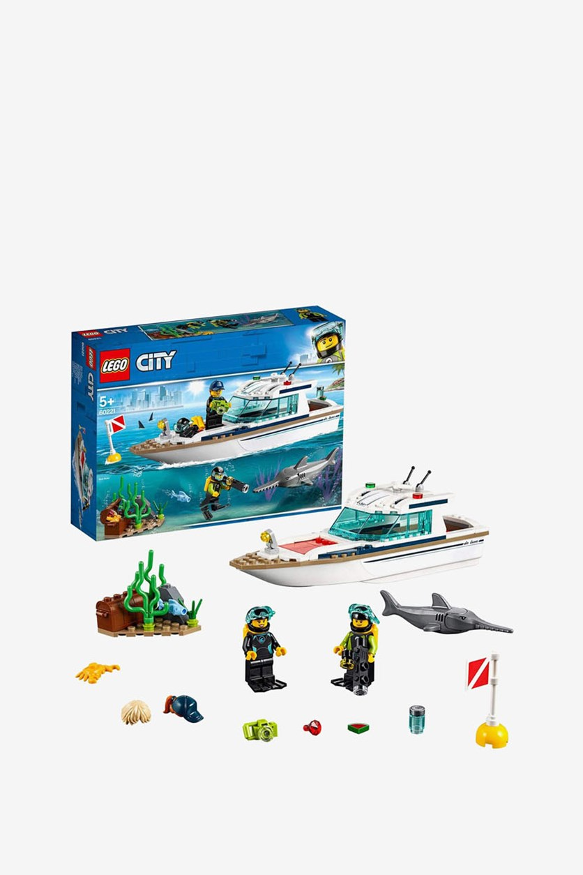 Diving Toy Yacht Construction Set, White/Black/Grey Combo