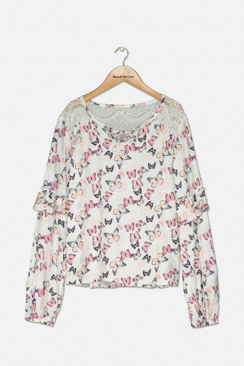 Big Girls Butterfly-Print Top, Ivory
