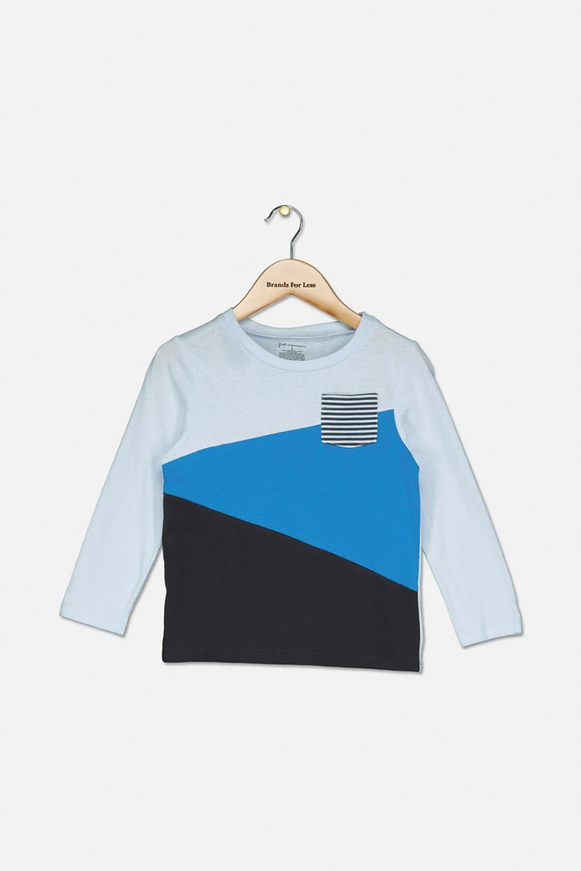Toddlers Boy's Long Sleeve Top, Barely Blue