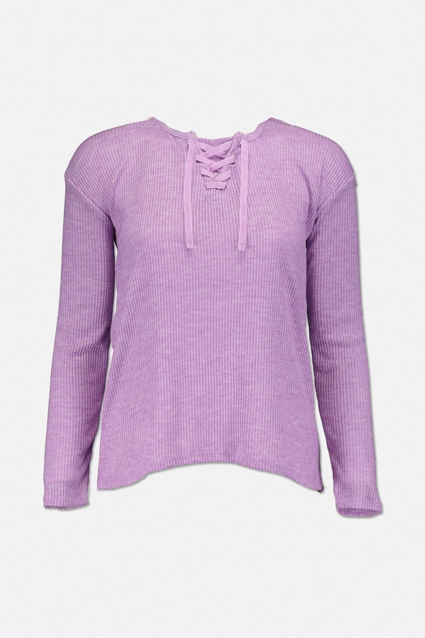 Girls Lace-Up Sweater-Knit Top, Sheer Lilac