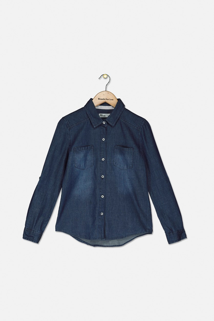 Big Girls Chambray Button Down Shirt, Medium Wash