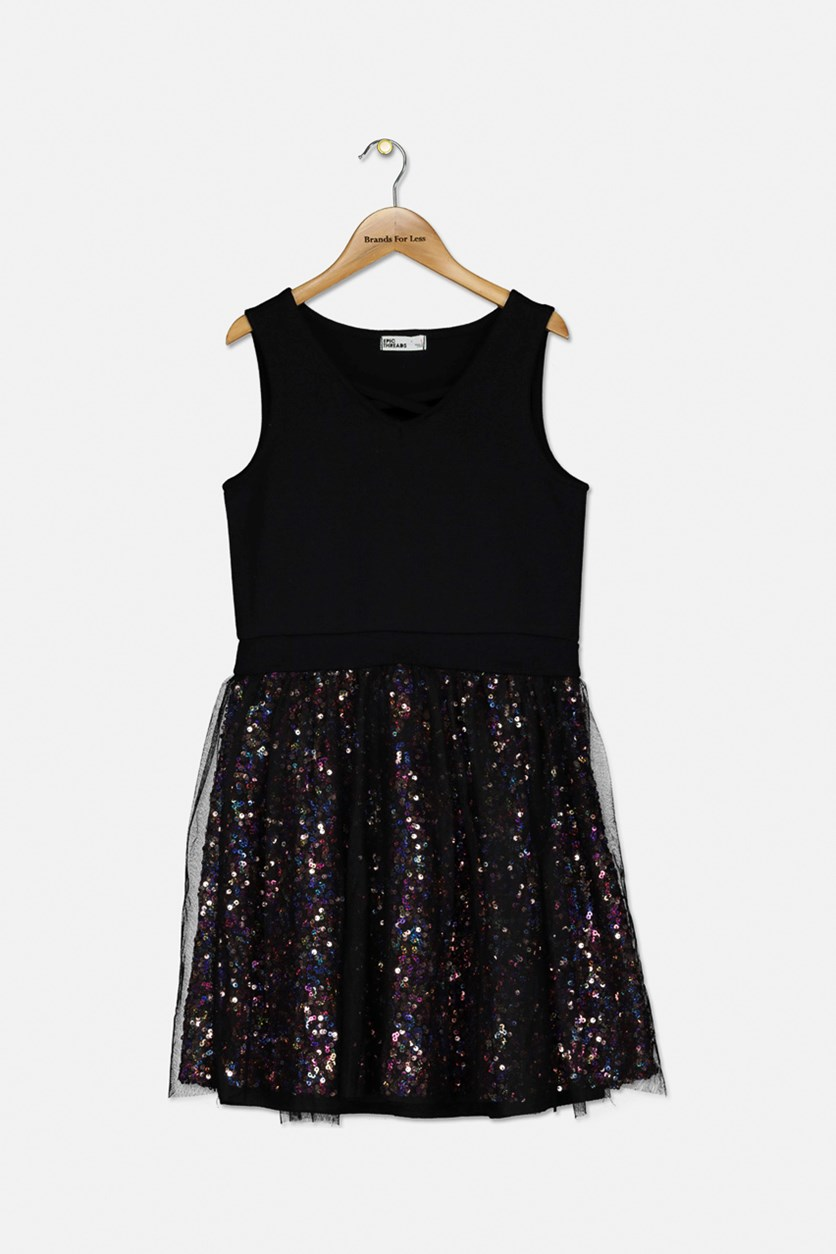 Big Girl's Sequin Mesh Dress, Black Combo