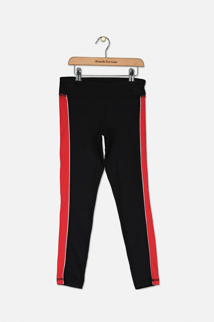 Big Girls Tuxedo-Stripe Leggings, Black/Red