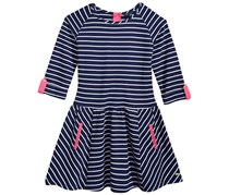 Girl's Striped Fit & Flare Dress, Navy