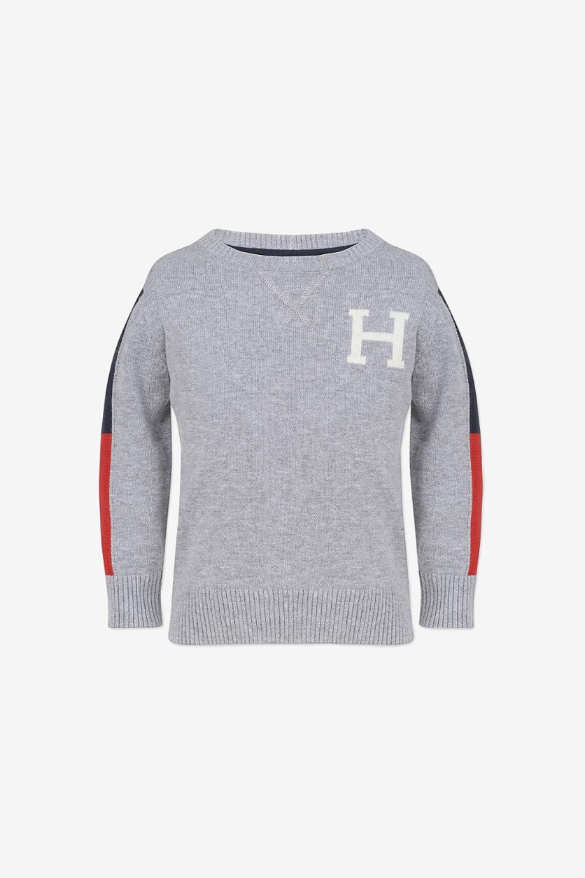 Toddlers Kids Crew Neck Sweater, Grey Heather